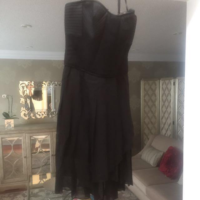 Bcbg black pleated dress size 2 LBD strapless tube dresa