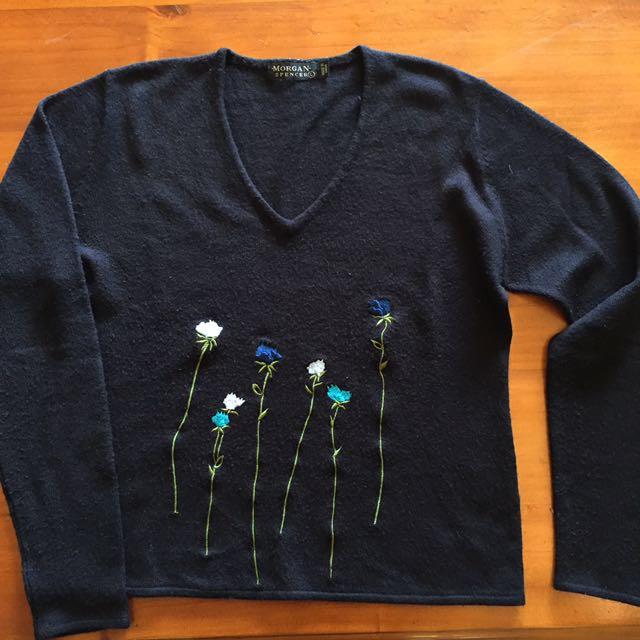 Black Jumper with floral detail