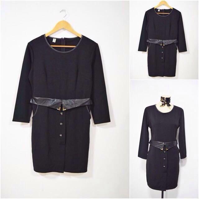 Black Pullover Dress w Leatherette