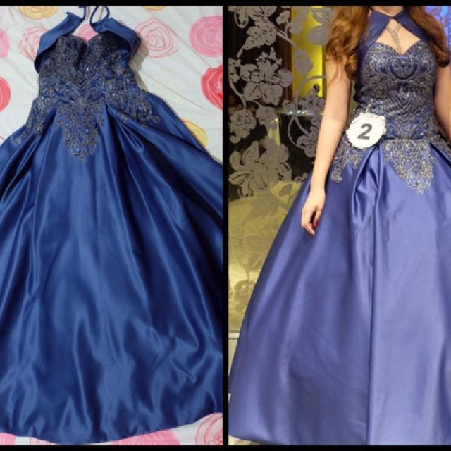 Blue Ball Gown With Necklace And Earrings Women S Fashion Clothes