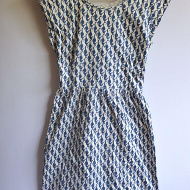 Blue flamingo-printed dress