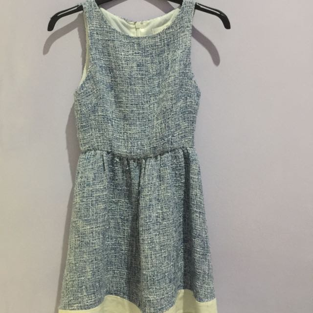 Blue Tweed Dress Love Bonito