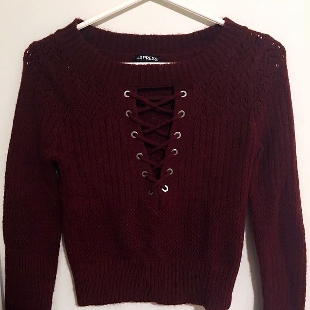 Burgundy Lace Up Sweater