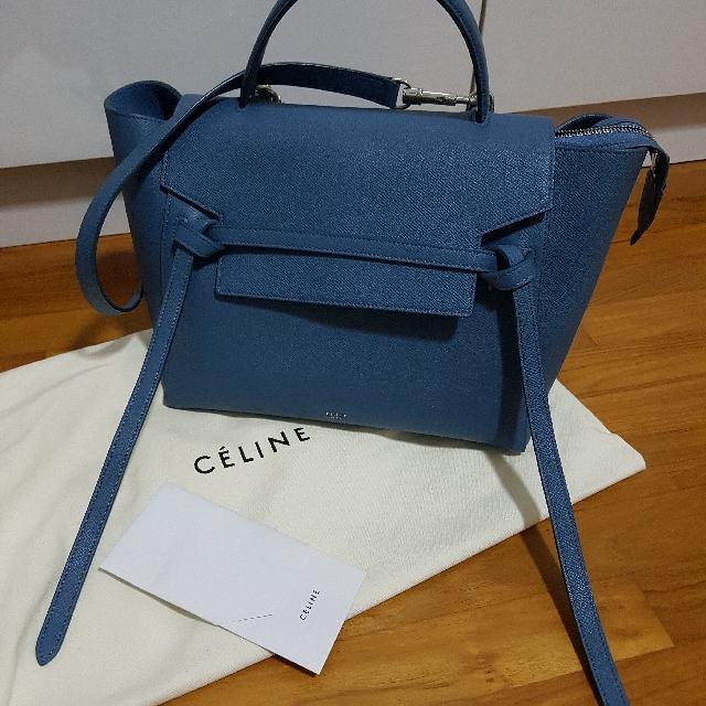 4aded4da83af Celine Belt Bag Teal Blue Grained Calfskin