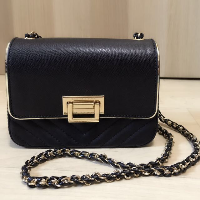 Charles   Keith Black and Gold Chain Shoulder Bag