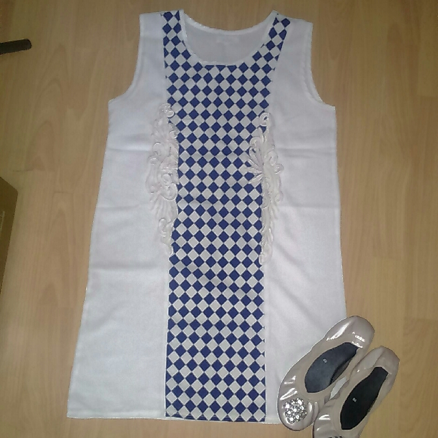 Checkered Office Dress, with Lace Details