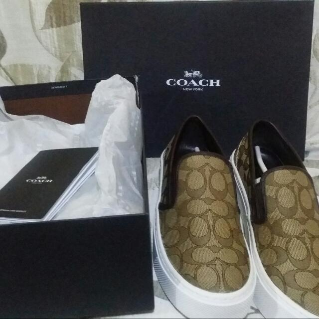 Coach cameron slip on in khaki and chestnut