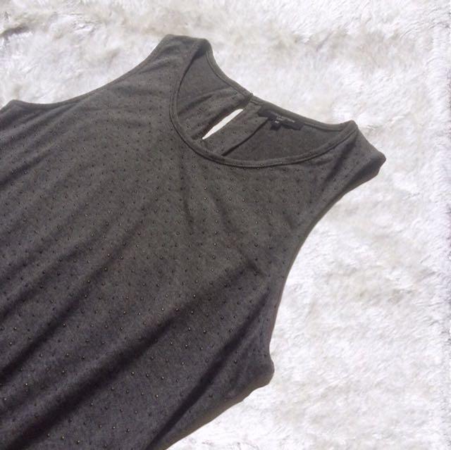 Codes Combine Gray/Black Flare Waist Dress