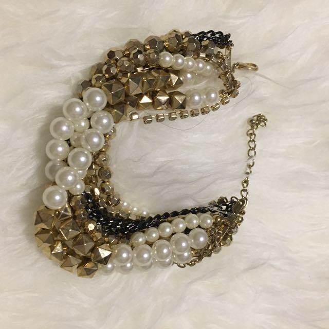 Combined Pearl Chain Bracelet