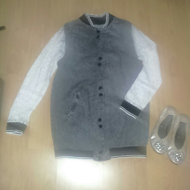 Faded Black,Laced Long-sleeves, Bomber Jacket