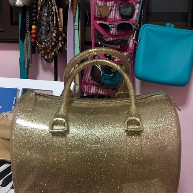 Furla Inspired Candy Bag In Glitter Gold Women S Fashion Bags