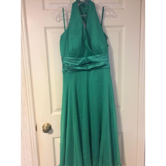 Green halter top dress