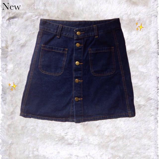 Hongkong Button-up Denim Skirt