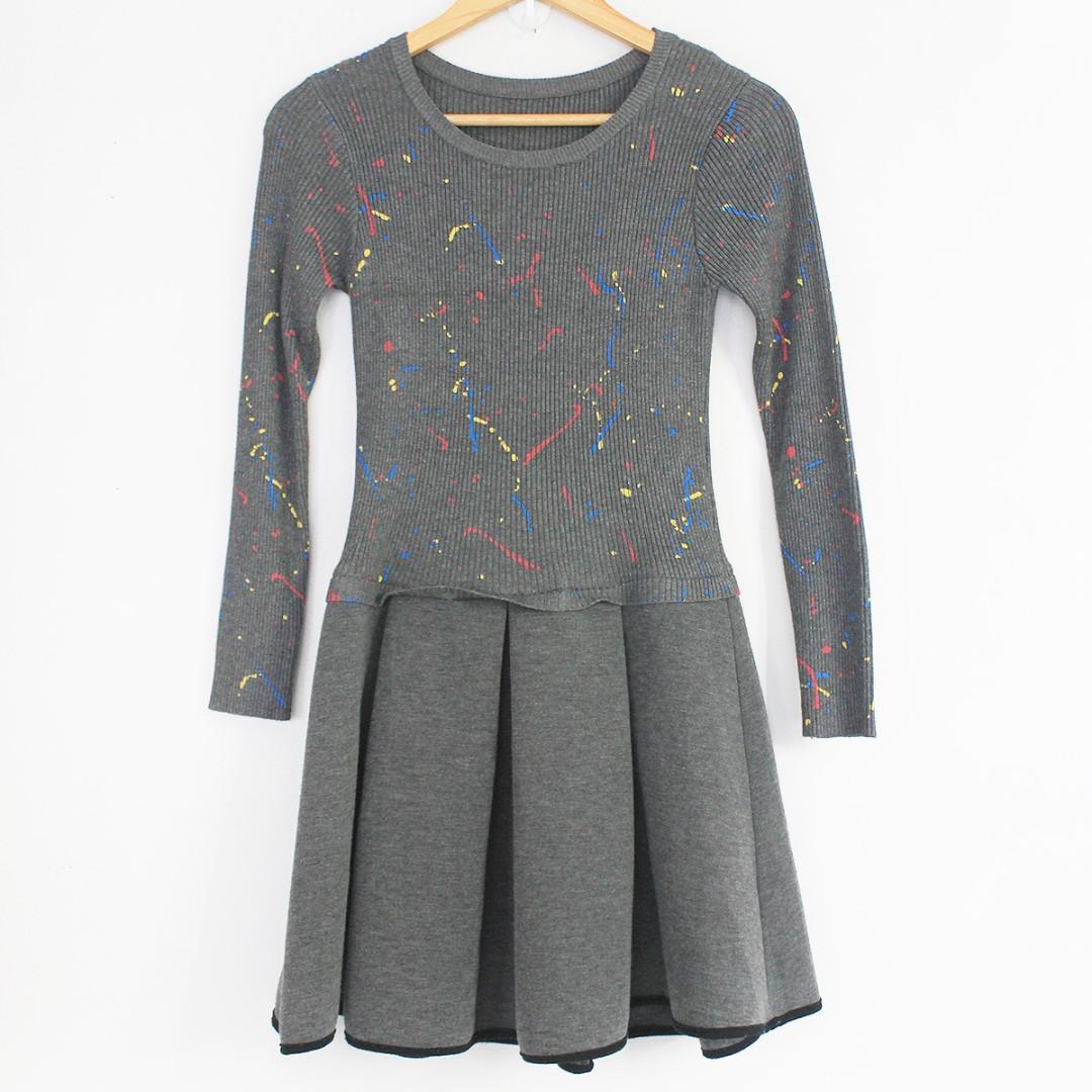 Style Gray Sweater Paint Fashion Splatter Dress ReservedKorean lF1JcK