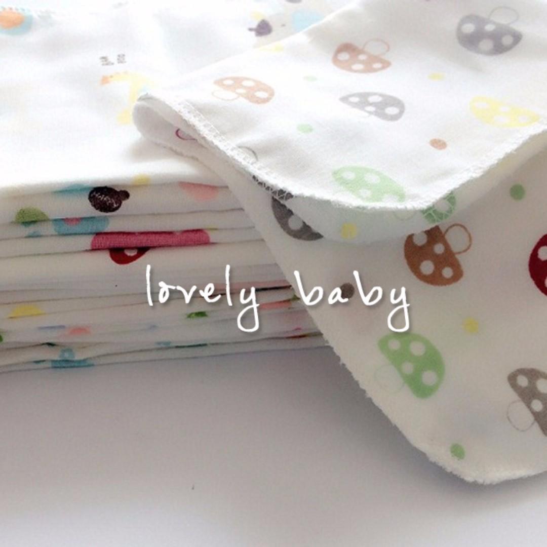 Lovelybaby✨高密31*31全棉雙層超軟印花紗布巾洗脸巾喂奶巾手帕 可以當洗澡巾 手帕擦口水都可以