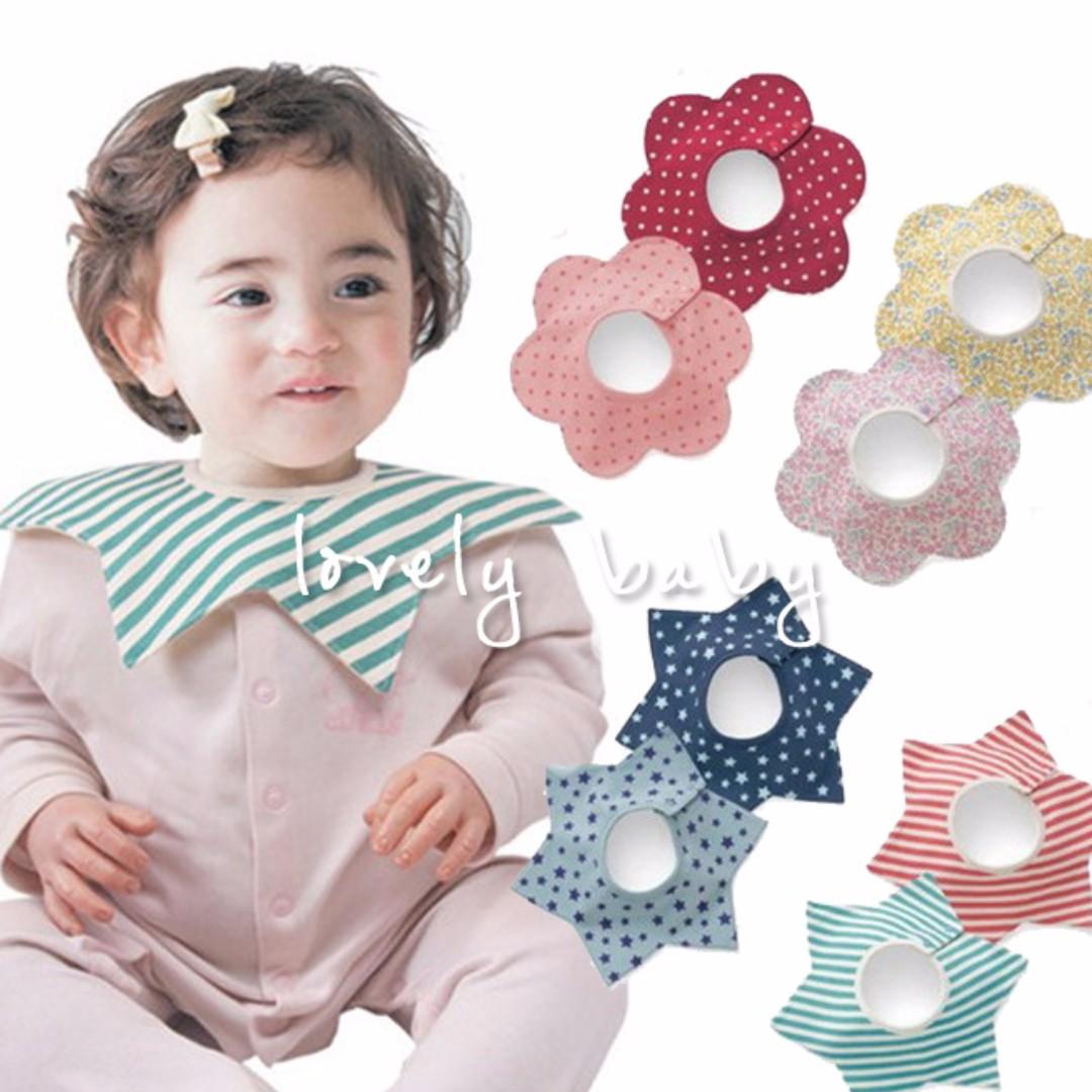 Lovelybaby✨ 外銷日本360度旋轉兜兜  星星花朵造型口水巾 寶寶用品 副食品吃飯防髒兜