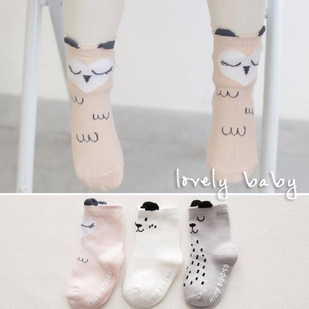 Lovelybaby✨ 韓版立體耳朵造型短襪 白色小狗 粉色貓頭鷹 可愛薄款幼兒/寶寶襪