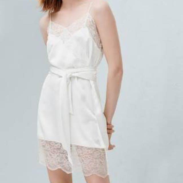Mango white satin dress with lace detail