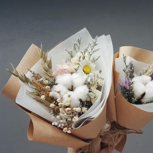 Mini Bouquet - Cotton Flowers , Dried Flowers, Design & Craft ...