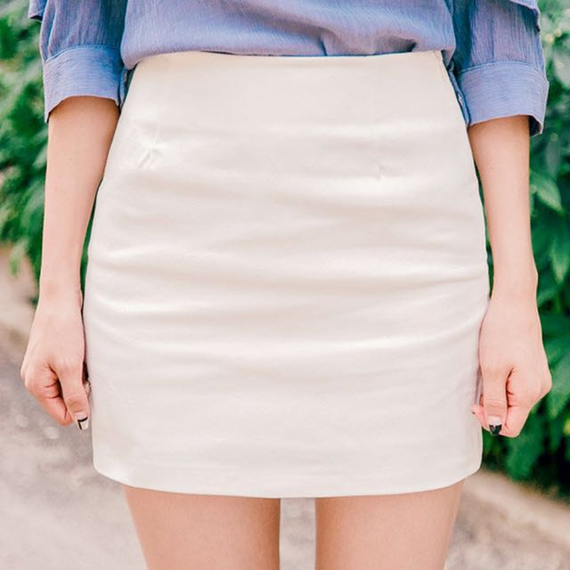 Mini Pencil Skirt - Beige