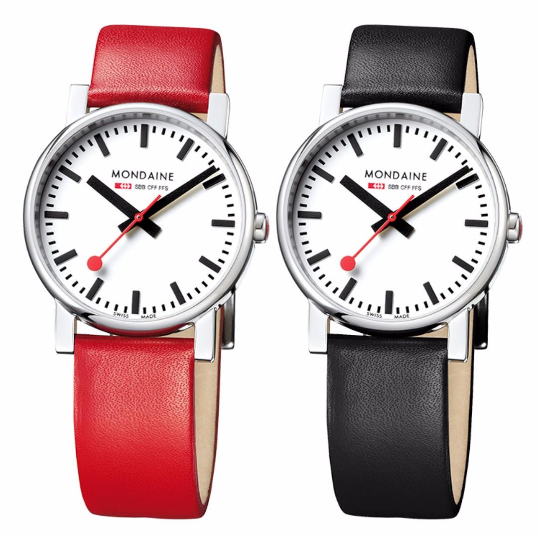 MONDAINE 瑞士國鐵經典腕錶/35mm-紅/黑錶帶 65811