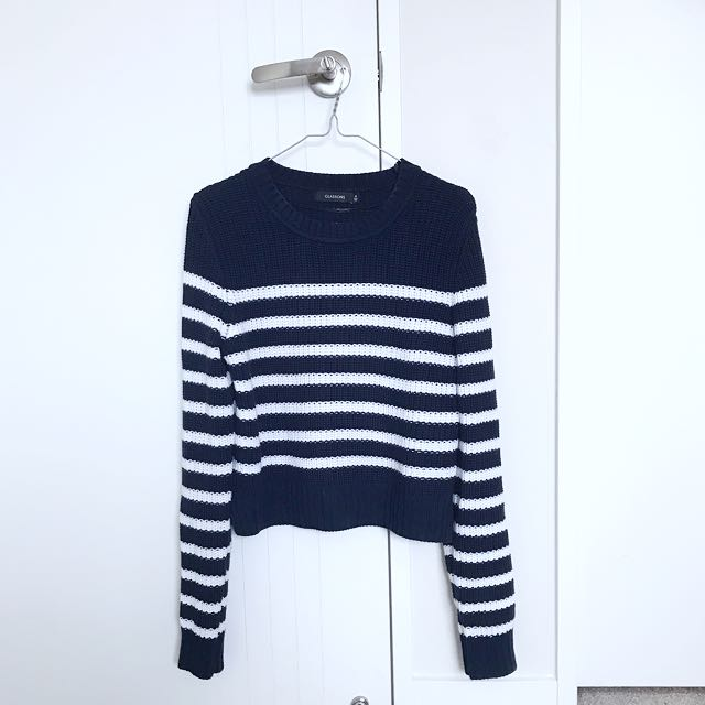Navy and white striped knit