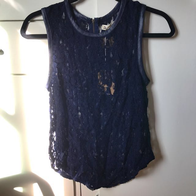 Navy Lace Sleeveless Shirt/Tank Top