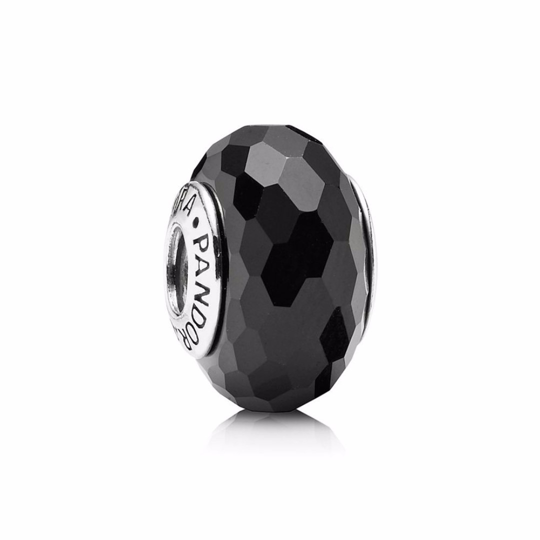 New Authentic Pandora Charm Silver* Black Faceted Murano Charm 791069