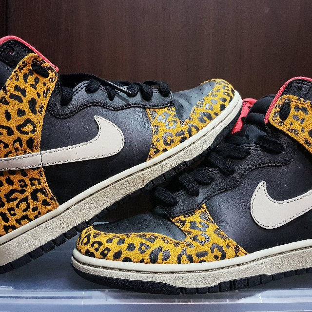 newest 535da ccc70 Nike Dunk High Skinny Black Leopard Print, Womens Fashion, Shoes on  Carousell