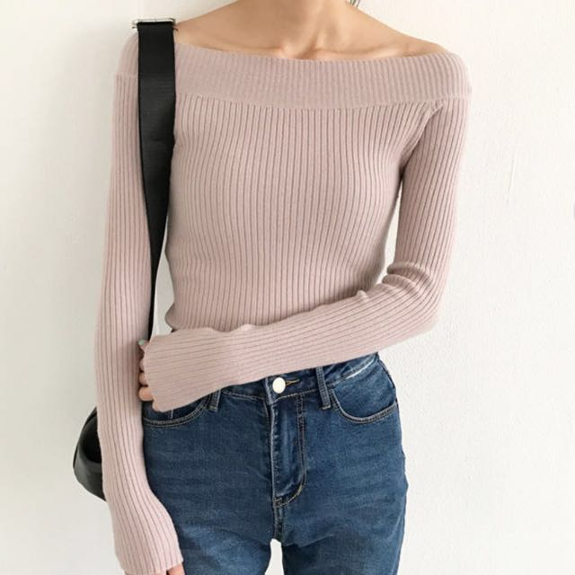 Off the Shoulder Sweater - Purple