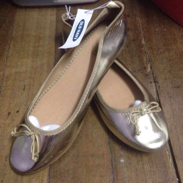 Old navy gold doll shoes