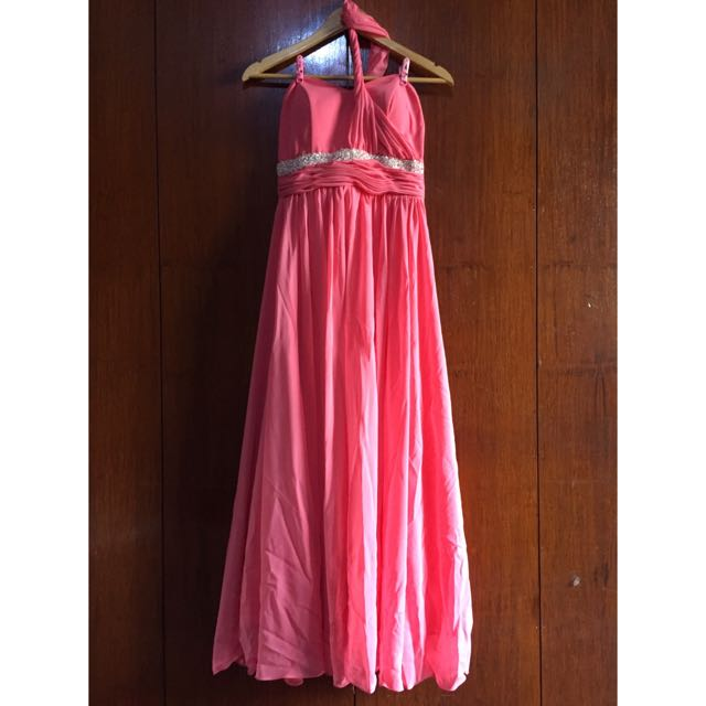 One Shoulder A line Chiffon Coral Dress