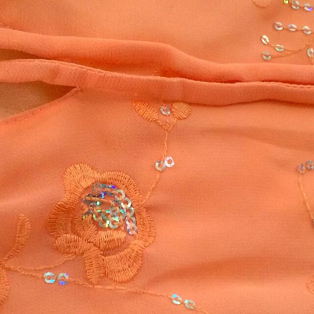Peach Coloured Chiffon Top With Pretty Hand Stitched Sequins/pattern Work, Size:6-8