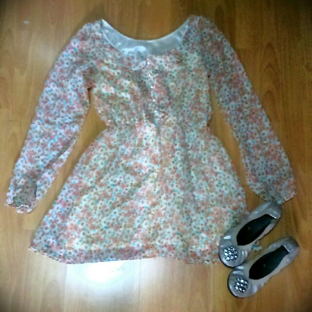 Peach, Floral, Collared Chiffon Dress