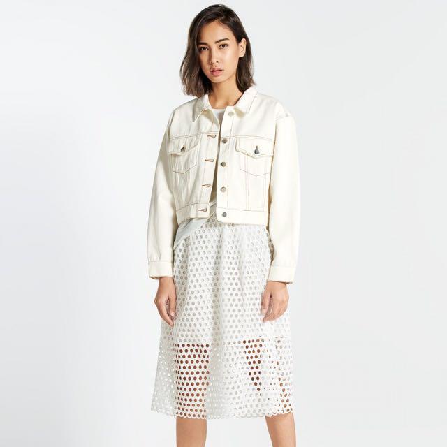 Preloved Pomelo Fashion Cropped White Denim Jacket