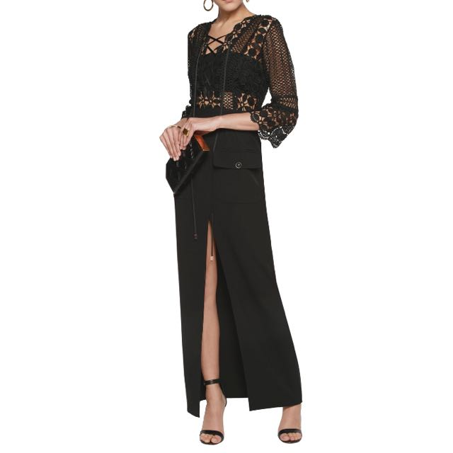SELF PORTRAIT GUIPURE LACE AND JERSEY MAXI DRESS