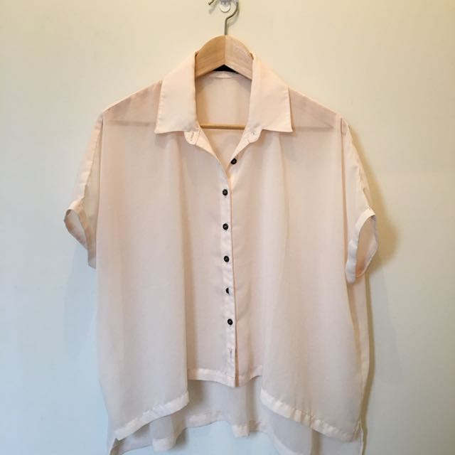 Sheer peach blouse