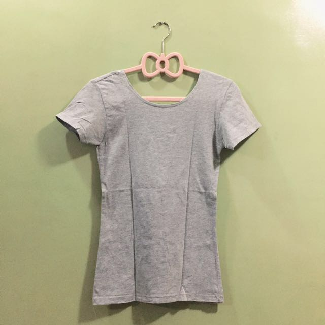 Spandex Low-back Gray Top