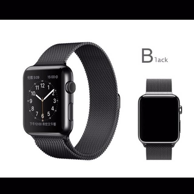 Strap Iwatch Apple Watch 42mm Milanese Loop Stainless Steel Black