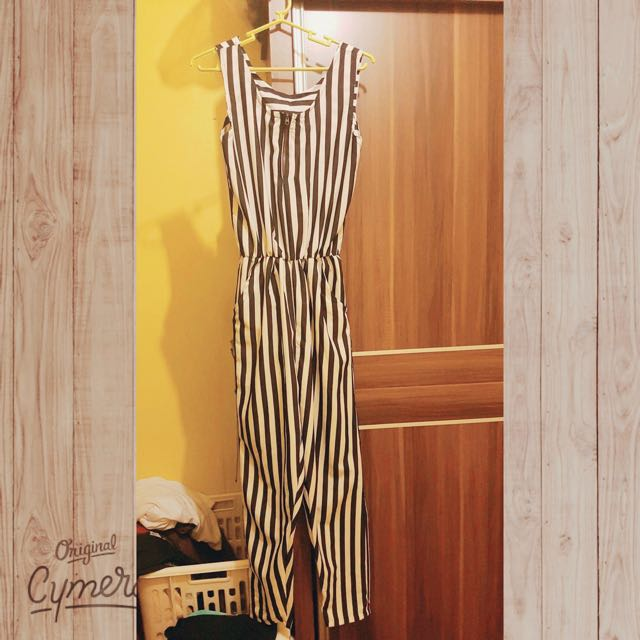 Striped Jumpsuit Navy Blue And White)