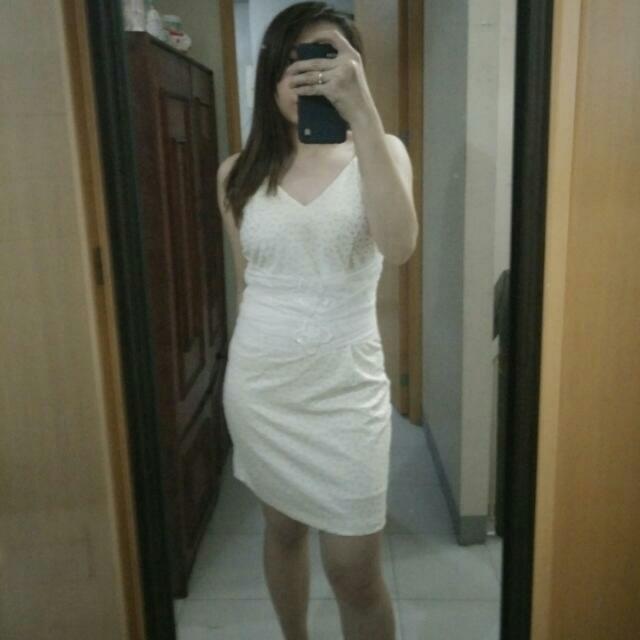 White Cream Korean Dress