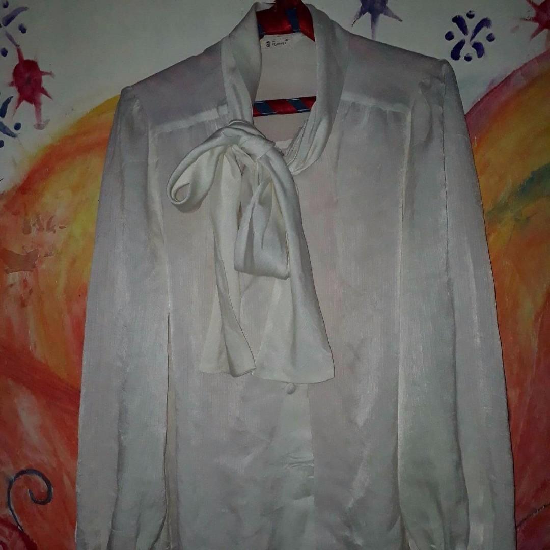 white long sleeve formal blouse