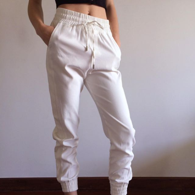 White Track Pants