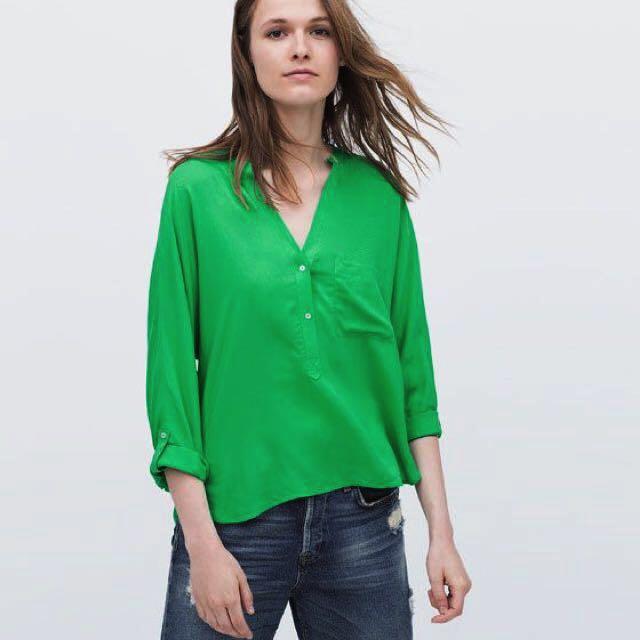 f889c9cb9ffc Zara Green Blouse, Women's Fashion, Clothes on Carousell