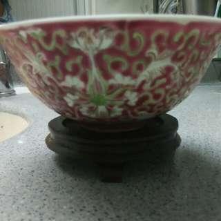 真 . 民國手繪軋道瓷碗,全新(一隻280,一對500)