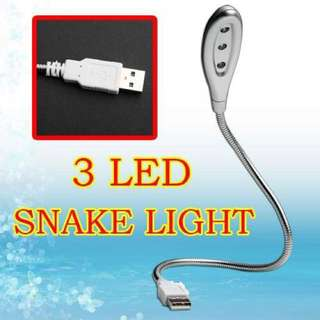 SNAKE LIGHT LAMP USB 3 LED, plugs into Notebook, PC.