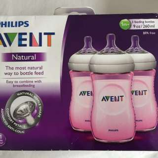Avent Natural 9oz Pink Bottles 3pcs/box (NEW)