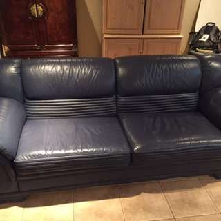 Navy Blue Leather Couches
