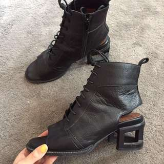 jeffrey campbell leather ankle booties