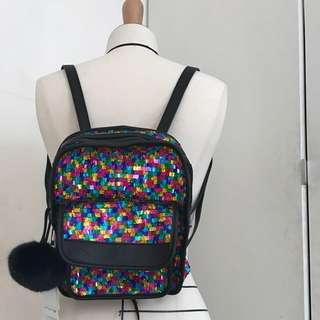 彩色亮片後背包